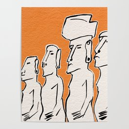 Moai statues in ink Poster