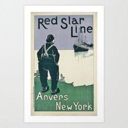 Vintage Red Star Line Cruise Ocean Line Travel New York Art Print