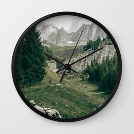 Peaceful Mountains | Landscape Photography Alps | Print Art Wall Clock