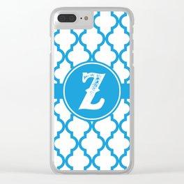 Blue Monogram: Letter Z Clear iPhone Case