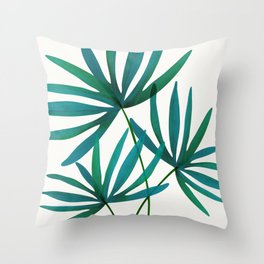 Fan Palm Fronds / Tropical Plant Illustration Throw Pillow