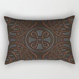 Faux Leather Dark Brown Pattern Rectangular Pillow
