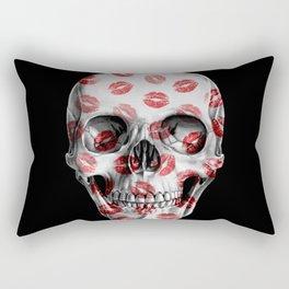 Kisses Skull Black Rectangular Pillow