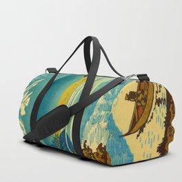 Japanese Woodblock Print Vintage Asian Art Colorful woodblock prints Asano Takeji Lake Shojin Duffle Bag