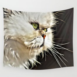 White Persian Cat Wall Tapestry