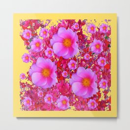 Golden Design Fuchsia Roses Floral Garden Art Metal Print