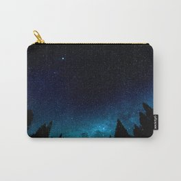 Black Trees Turquoise Milky Way Stars Carry-All Pouch