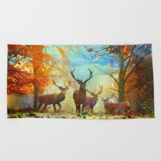 Autumn Forest Watch Beach Towel
