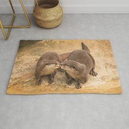 Kissing Otters Rug