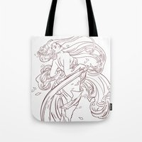 mucha Tote Bags featuring Mucha Inspired by Jon Cain