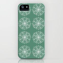 White Lobster Flower Mandala Lines Pattern Green iPhone Case