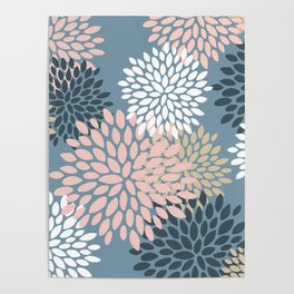 Blooming Floral Abstract Pattern, Pink, Blue and White Poster
