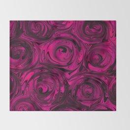 Berry Fuchsia Roses Throw Blanket