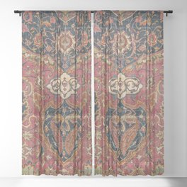 Persian Medallion Rug VII // 16th Century Distressed Red Green Blue Flowery Colorful Ornate Pattern Sheer Curtain