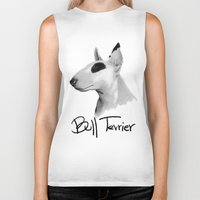 bull terrier Biker Tanks featuring Bull Terrier by Det Tidkun