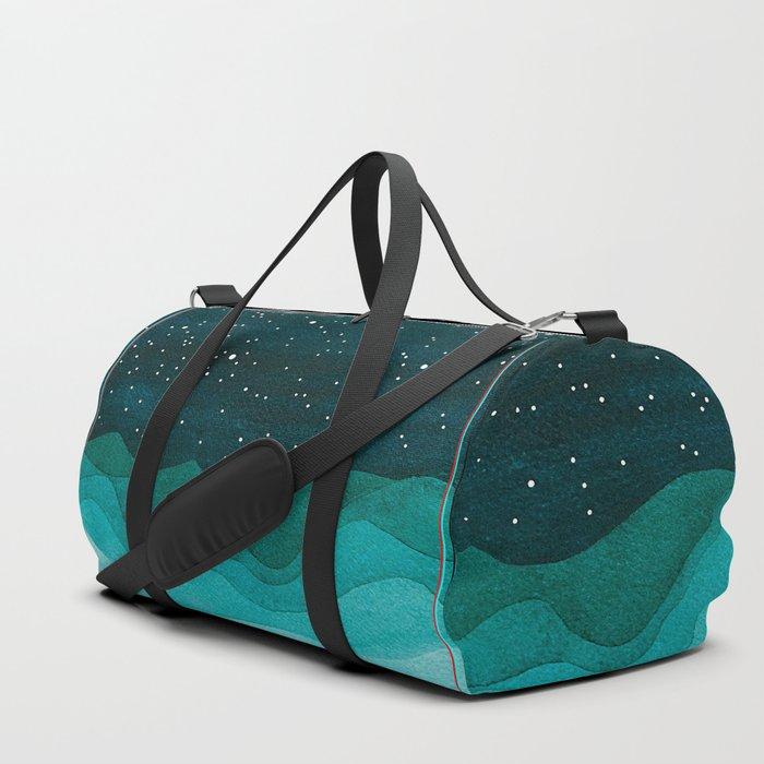 Starry Ocean, teal sailboat watercolor sea waves night Duffle Bag