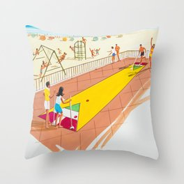 Shuffleboard Art from the 1960's. Retro Illustration. Throw Pillow