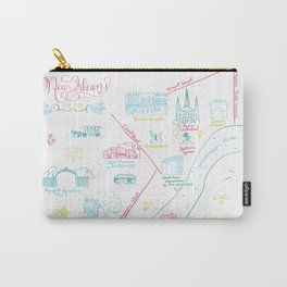 New Orleans, Louisiana Illustrated Calligraphy Map Carry-All Pouch