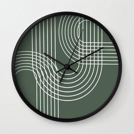 Minimalist Lines & Forest Green BG Wall Clock