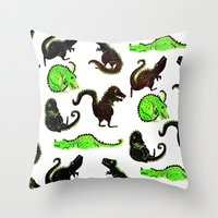 dinosaurs Throw Pillows featuring dinosaurs by Lara Paulussen