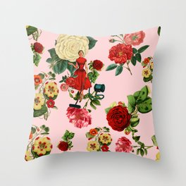 Keep it clean floral collage pink Throw Pillow