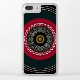Modern Black White and Red Mandala Clear iPhone Case