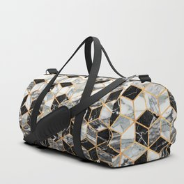 Marble Cubes - Black and White Duffle Bag