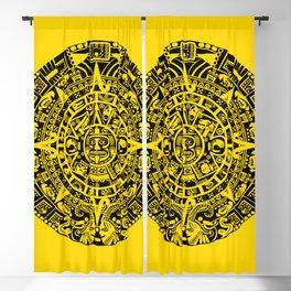 Mayan Calendar // Yellow Blackout Curtain
