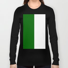 White and Dark Green Vertical Halves Long Sleeve T-shirt