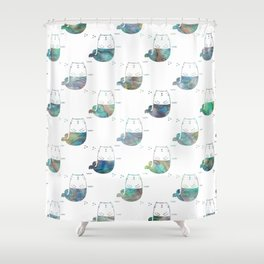 merkitty ocean seashell shower curtain