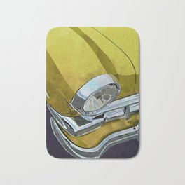 Classic Retro Car Art Series #1 in Crocus Yellow Bath Mat