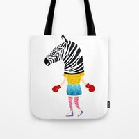 boxing Tote Bags featuring Boxing time by Alba Vilardebo