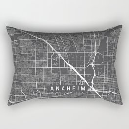 Anaheim Map, California USA - Charcoal Portrait Rectangular Pillow
