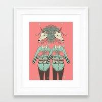 boob Framed Art Prints featuring unicorn boob by Yna Crez