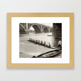 Vintage Black & WhitePhoto Female College Rowing Team Framed Art Print