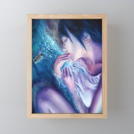 Deception, Girl laying on beach/ocean fantasy Oil painting Framed Mini Art Print