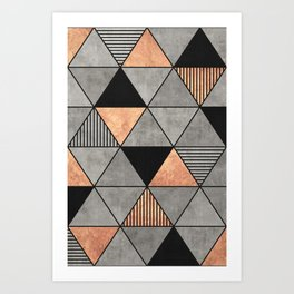 Concrete and Copper Triangles 2 Art Print