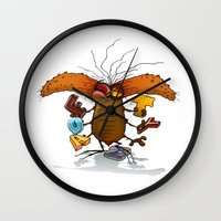bookworm Wall Clocks featuring Bookworm by Tayfun Sezer