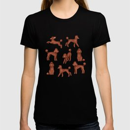 Chocolate Poodles Pattern  (Turquoise Background) T-shirt