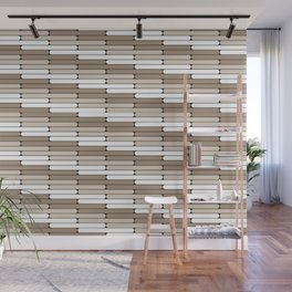 Staggered Oblong Rounded Lines Pattern Pantone Hazelnut Wall Mural