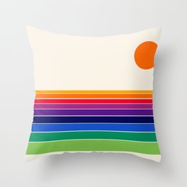 Coolie - retro 70s style throwback sunset sunrise socal cali beach vibes Throw Pillow
