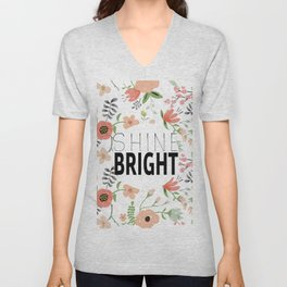 Shine bright quite with girly flower pattern Unisex V-Neck