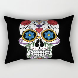 Colorful Sugar Skull Rectangular Pillow