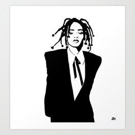 Rihanna Black and White Art Print
