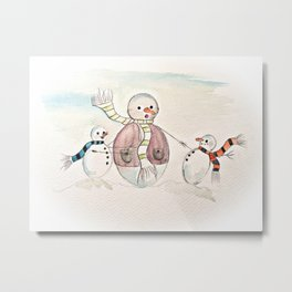 Snow Dads Day Out Metal Print