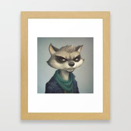 Hipster Raccoon Framed Art Print