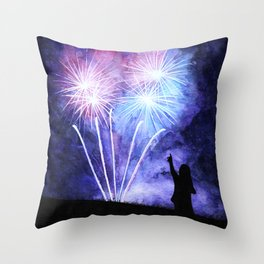 Blue and pink fireworks Throw Pillow