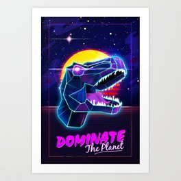 Electric Jurassic Rex - Dominate the Planet Art Print