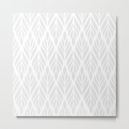 Minimal White Ethnic Pattern Metal Print
