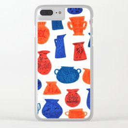 Pottery in Blue and Red by Amanda Laurel Atkins Clear iPhone Case